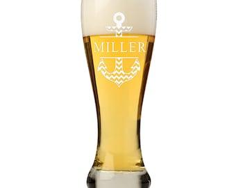 Custom Pilsner Beer Glass, Personalized Anchor Split Monogram Beer glass, Personalized Beer Glass , Engraved Beer Mugs,Groomsman Gifts