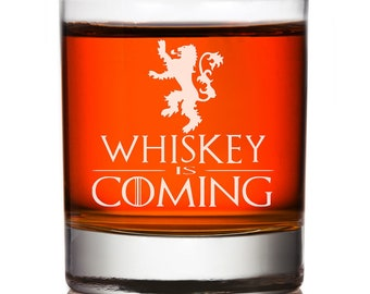 Whiskey Is Coming Game Of Thrones Lannister Rocks Glass, I Drink and I Know Things Rocks Glass,Engraved Groomsman Whiskey Glass,Custom Rocks