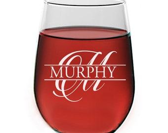 Personalized Monogram Stemless Wine Glass, Engraved Wine Glass, Split Monogram Wine glass, Wine glass Bridesmaid Gift, Groomsman Wine Glass