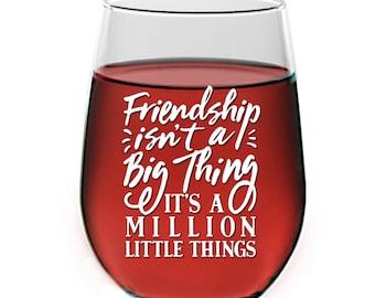 Friendship Stemless Wine Glass gift - Engraved Best Friends Gifts - Sisters Wine Glass - Mothers Day Wine Glass Gifts - AZ-208-21-OZ