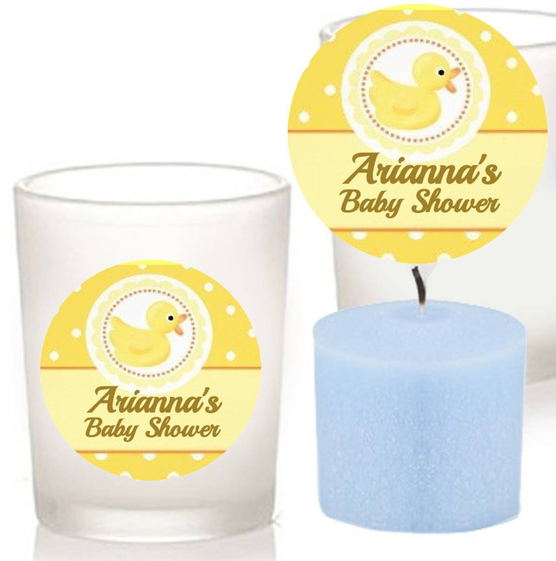 Custom Little Ducky Baby Shower Votive Candle Holder Favor Scented Blue Candle Favor New Baby Party Favor,Christening favor
