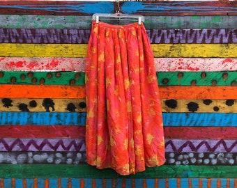 60s high waisted silk floral maxi skirt