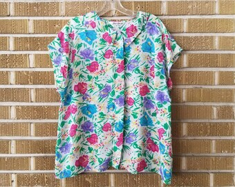 80s/90s neon springtime floral peterpan collar sheer blouse