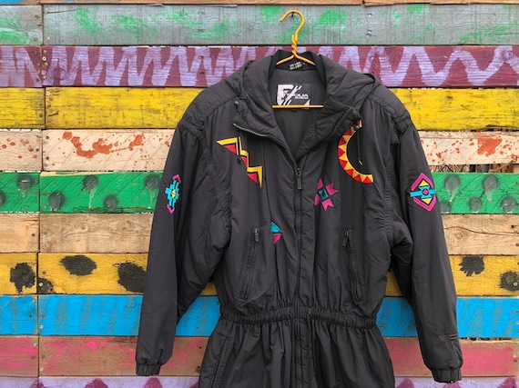 size 6- neon embroidered 90s puffer jacket