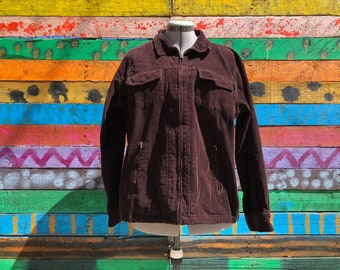 xl-90s grunge chocolate brown corduroy jacket