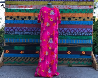 60s/70s neon pink psychedelic floral maxi