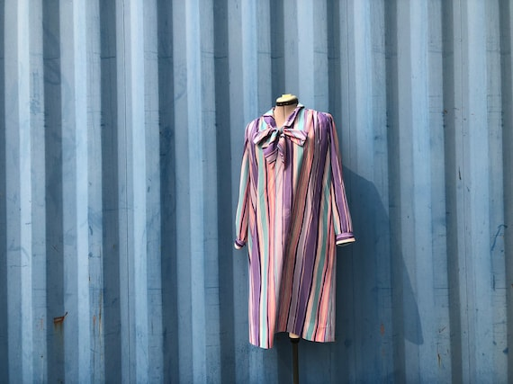 PLUS SIZE- 1970's stripe pastel pussybow dress