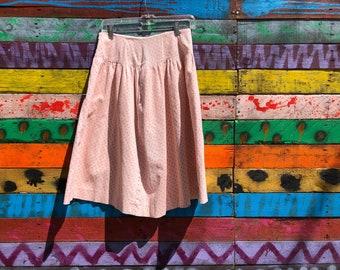 80s/90s corduroy floral skirt, high waisted midi skirt
