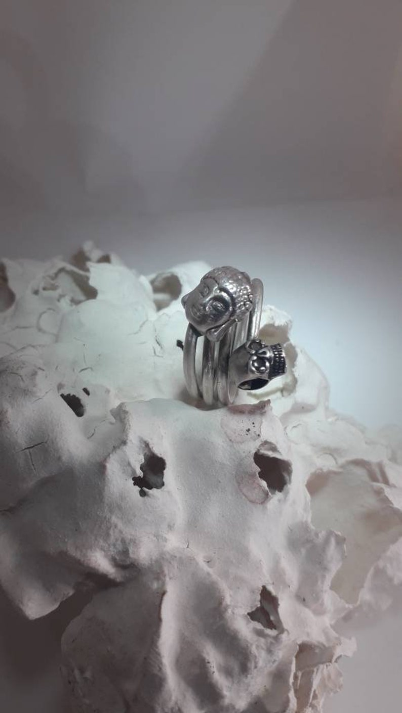 Skull and Buda sterling silver ring