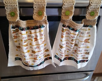 Native American Design Hanging Kitchen Towels/Tan Crocheted Towel Toppers