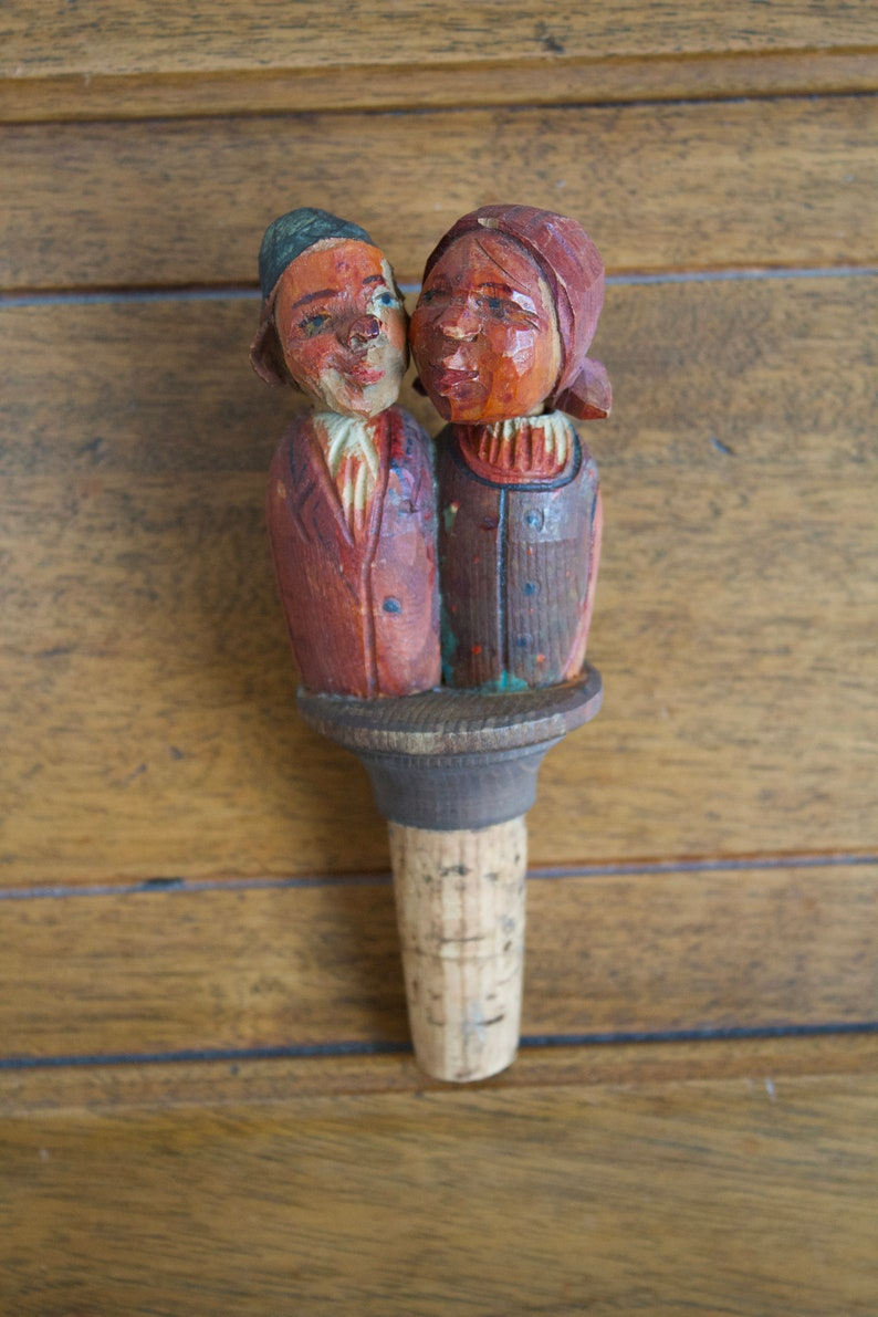 Kissing Couple Hand Carved and Painted Wooden Mechanical Cork Bottle Stopper