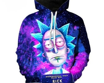 ae271b4de Rick and Morty CRAZY Full Print HIGH RES Graphic Hoodie