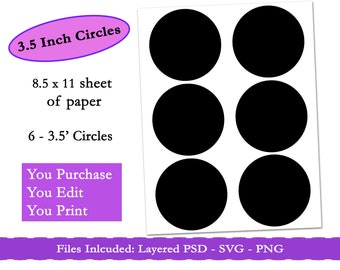 25 inch circle template psd circle collage sheet bottle cap template party printable commercial use digital template instant download - 3 5 Inch Circle Template