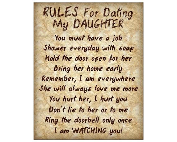 Regeln für die Datierung meiner Tochter Plakat