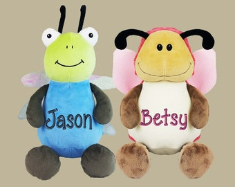 f23c8f819d1 Personalized Plush Stuffed Cubbies Lady Bug or Bee or Dragonfly or Butterfly  with Monogram Name or Birth Statistics Stats Gift