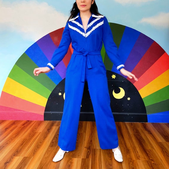 SMALL -  1970s Vintage Disco Jumpsuit - wing tip -