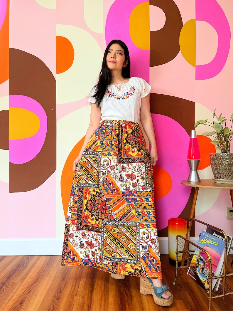 1960s Folk Quilted Peasant by Alex Coleman 1970s Vintage Patchwork Maxi Skirt S  M 29 waist floral Paisley Print
