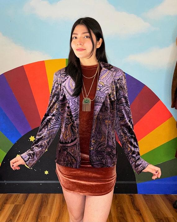 Medium -  Vintage 1990s Glam Velvet Blazer - 90s d