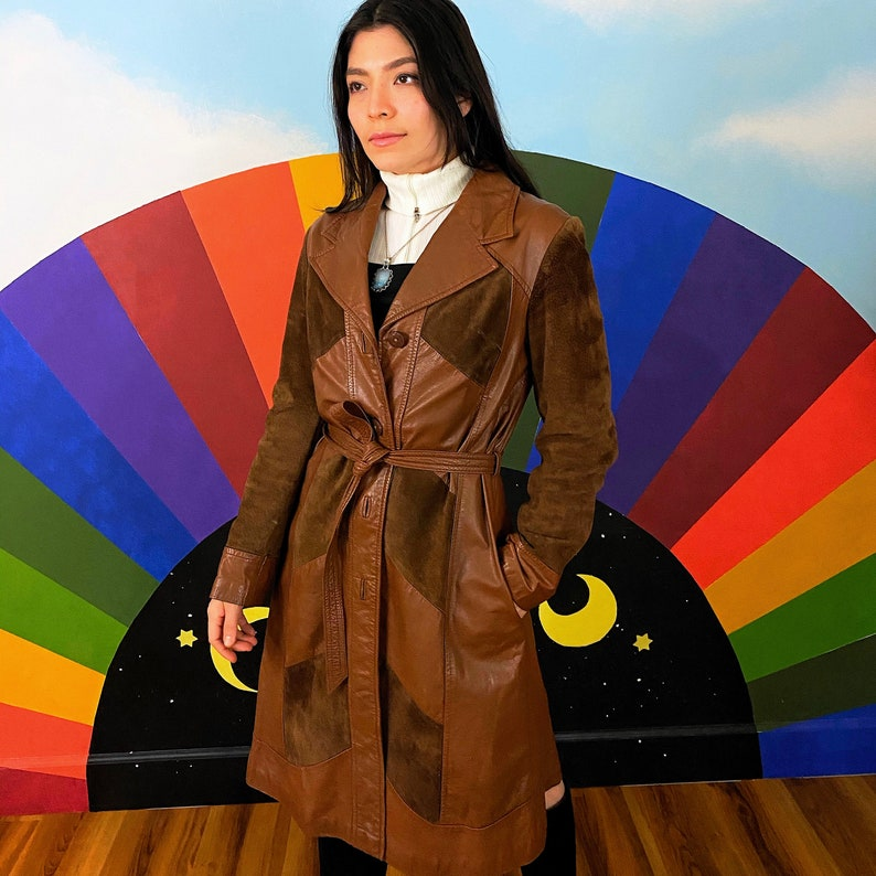 S  M 1970s Vintage Patchwork Trench Coat 70s Rock Glam Jacket  by Suburban Heritage Suede