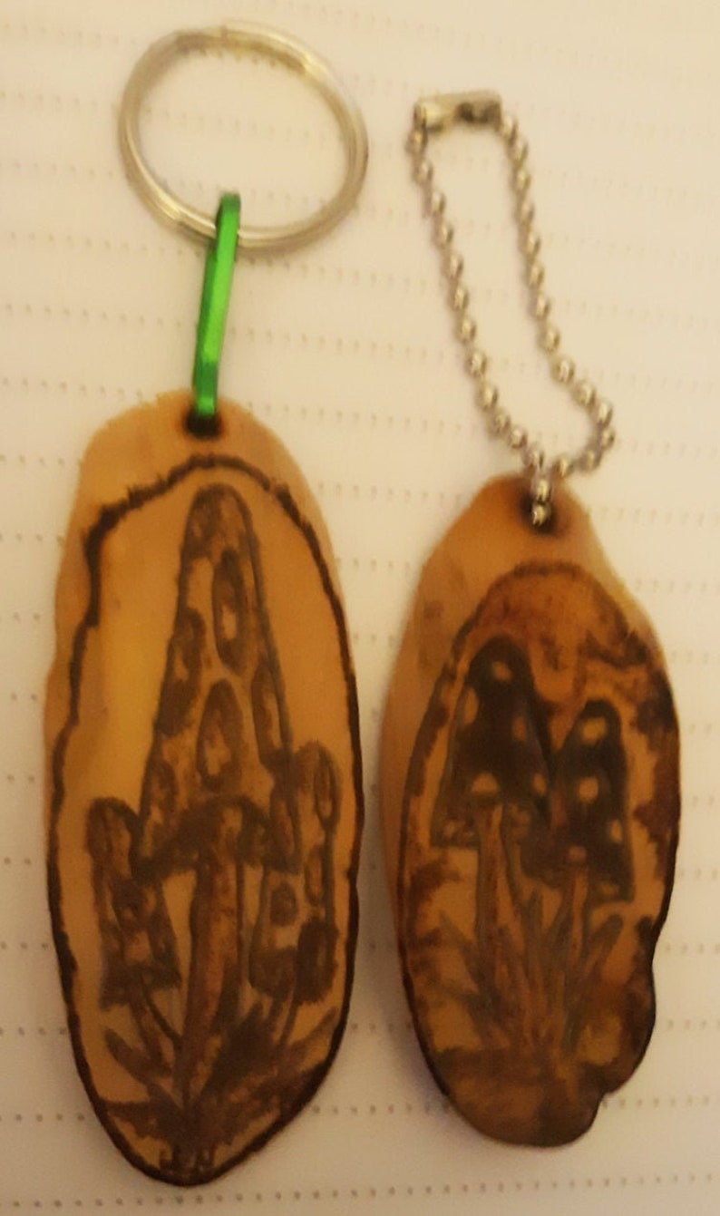 Set of 2 Keychains with Mushroom Pyrography