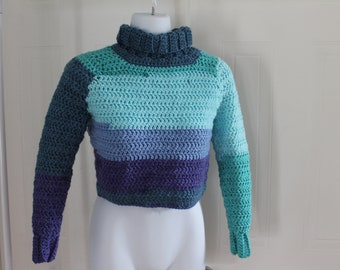 Multicolor cropped turtleneck sweater