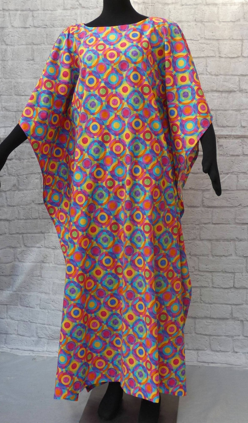 ankle length Vintage easy wear 60s 70s caftan housedress loungewear multi textured rainbow circles round collarless neckline Washable .