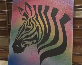 Rainbow zebra stencil