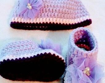 Newborn Baby Set, baby Hat, baby Shoes, Baby Girls Shoes, Newborn Shoes, Newborn hat, 0-3m, 3-6m, 6-9m, 9-12m
