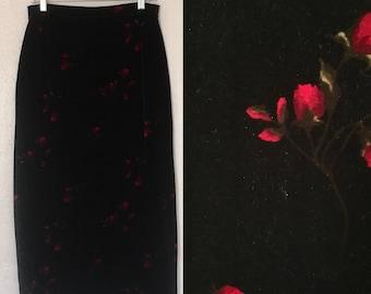 Velvety Rose Print High Waisted Maxi Skirt