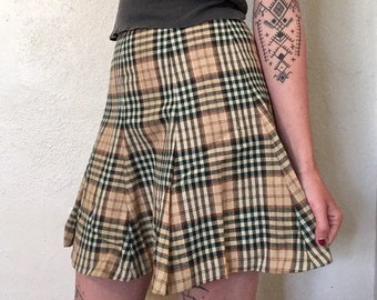 70s Plaid School Girl High Waisted Skirt