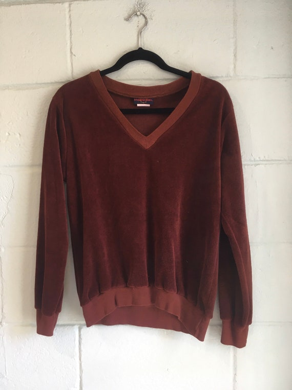 Rich Brown 70s Velour V-Neck Sweater/ Overshirt si