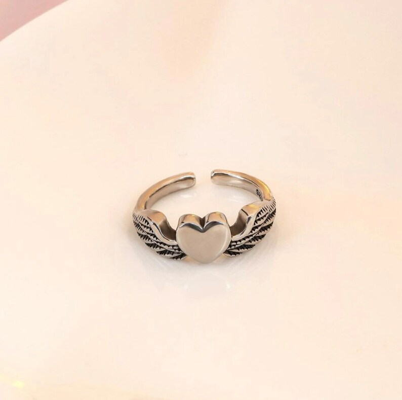 Punk Ring Heart Ring Angel Wing Ring Aesthetic Ring Retro Statement Ring