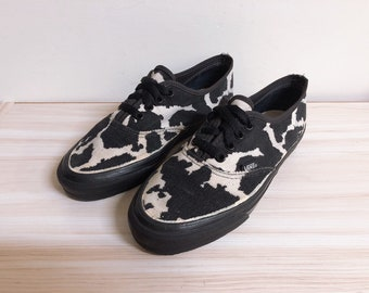 1ad0afe9f Vintage Vans corduroy cow print shoes made in usa