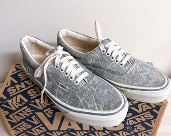 b820fd665f6 90s Vintage Vans shoes acid denim shoes made in USA with box