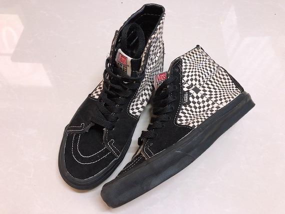Vintage Vans optical checkerboard shoes sk8-hi mad