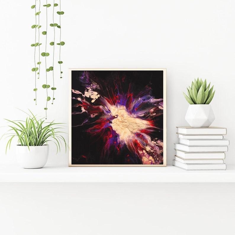 12x12 Original Acrylic Pour Painting on Canvas For Sale and Copper Red Black Galaxy Inspired with Electric Purple