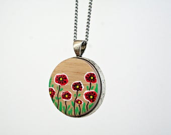 Painted Jewlery-Wooden Handpainted Circle Pendant-Handmade Necklace-Floral Necklace