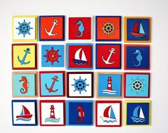 Wooden handmade fridge magnets-Nautical decor-Wood marine gift