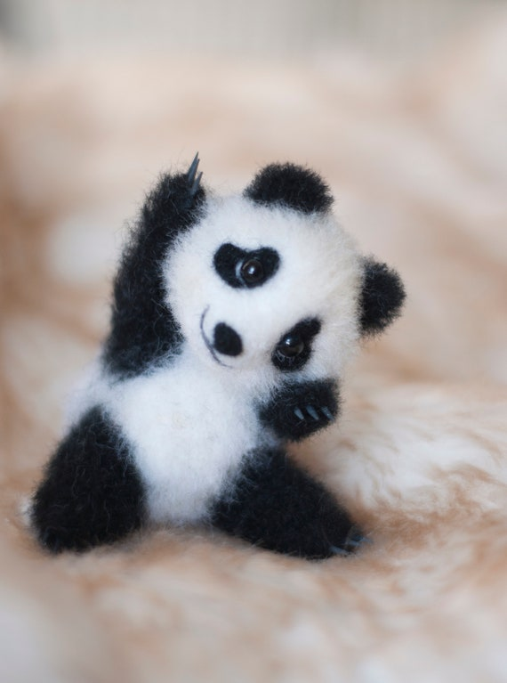 Felted panda Felting Panda is a real flower child Flowers Gift idea Wildlife The special gift Funny animals