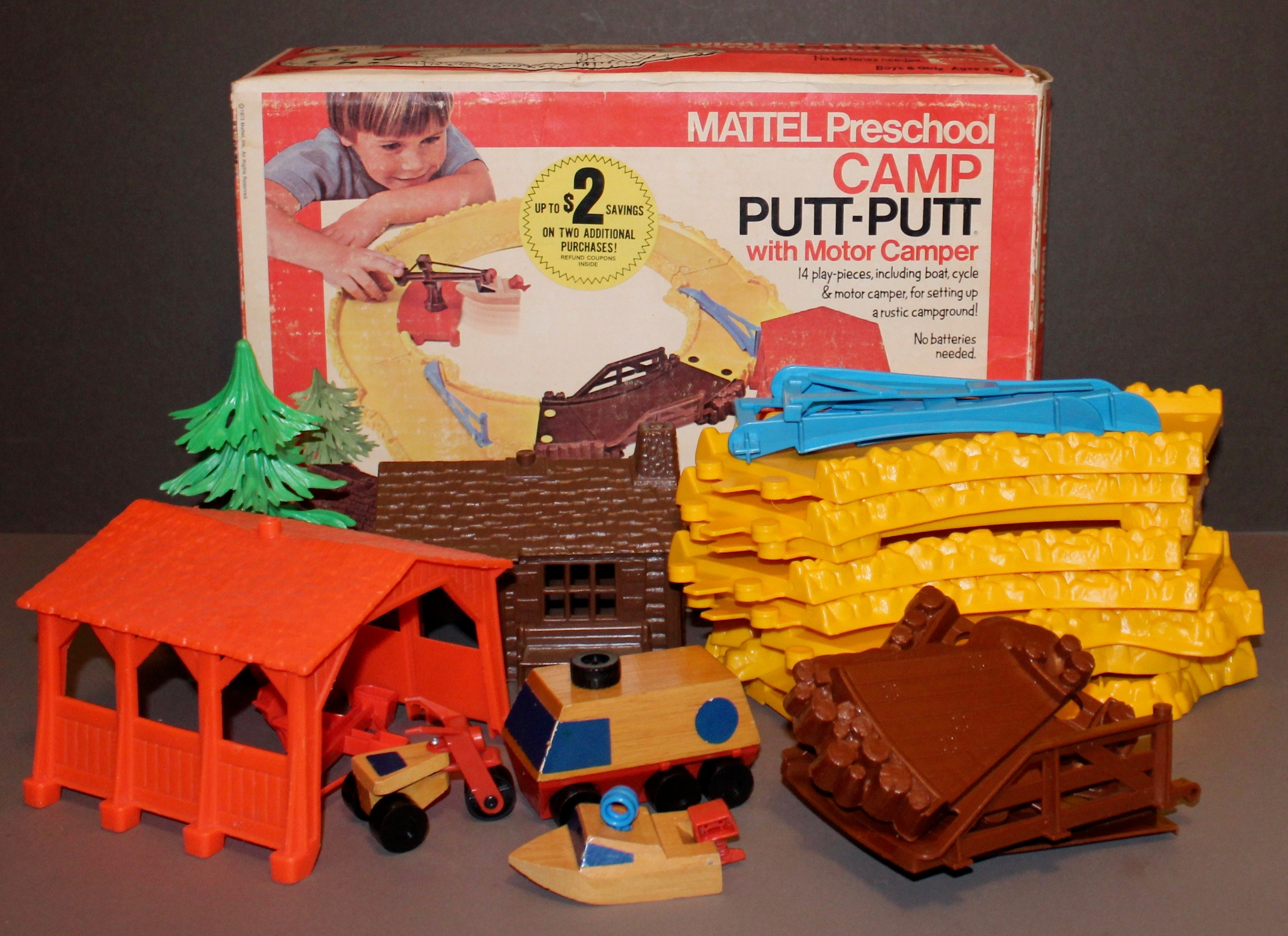 Mattel Putt Putt Preschool Camp with Motor Camper No  7066 with Original  Box 1973