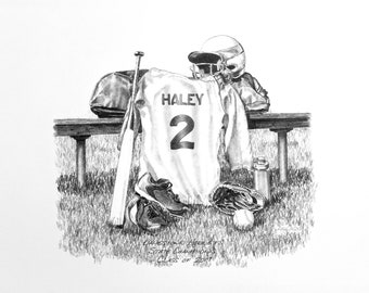Personalized Softball Print, Softball Gift, Senior gift, Banquet Gift, Pencil Personalization, Senior Night,Senior Athlete Gift
