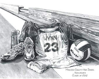 Personalized Volleyball Print, Volleyball Gift, Girls Volleyball , Senior gift, Banquet Gift, Pencil Personalization