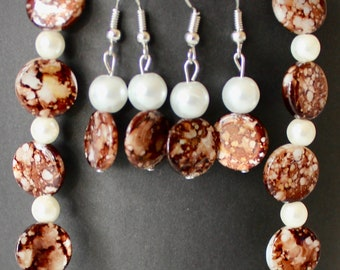 Brown and White Marble with Glass Pearls Bracelet and Earrings Set