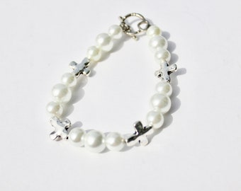 Glass Pearl Bracelet with Cross Accent Beads