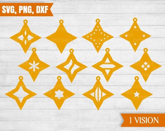 Leder Ohrring Geschnitten Stern Vorlage Svg Dateien 12 Sterne Schneiden Dateien Cricut Schmuckherstellung Gewerbliche Nutzung Png Dxf