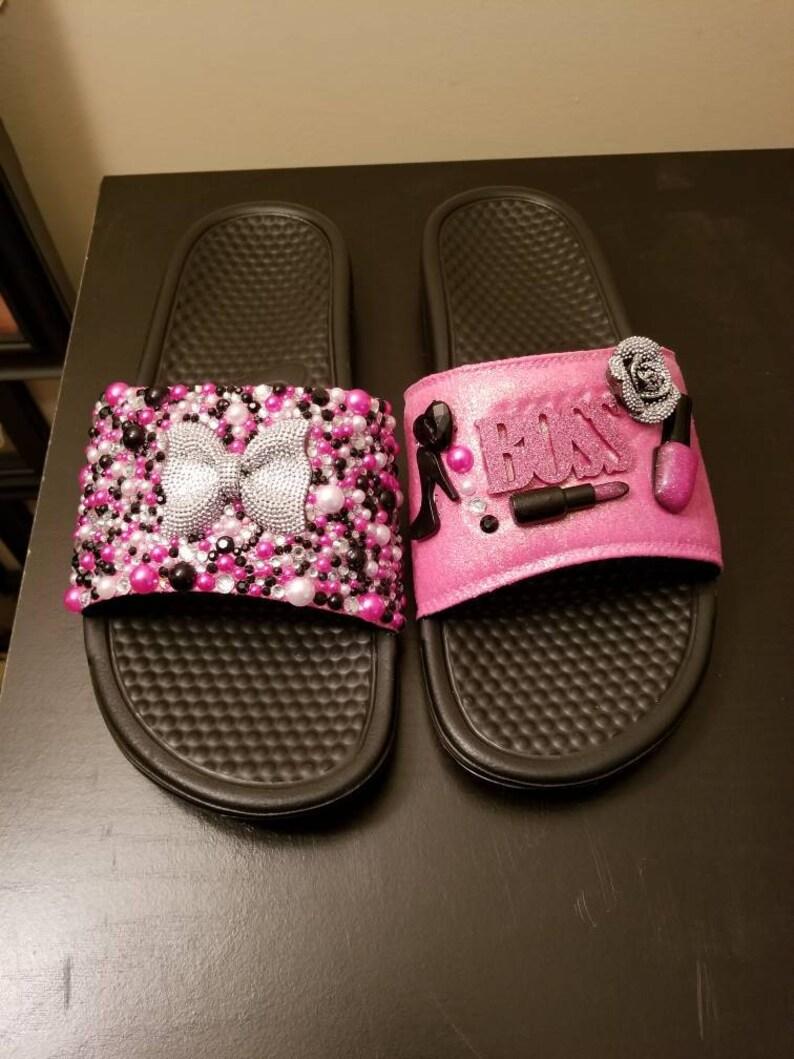5bb86d269 BOSS Nike custom bling slides   Etsy