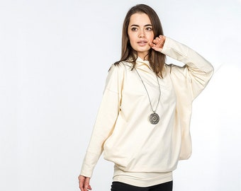 Beige Sweater for Women / Long sleeve sweatshirt / Spring pullover / Original blouse / Oversized clothes / Hippie Boho Casual / Gift for her