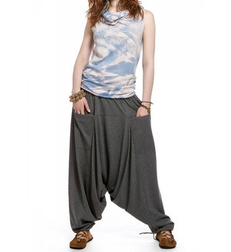 Hippie yoga Boho harem pants for women \u0421otton jersey casual loose festival trousers