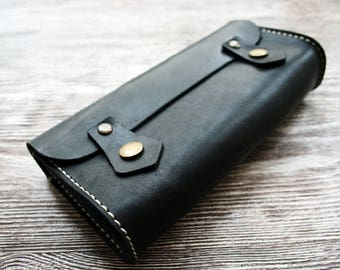 Black Leather Cosmetic bag + pencil case +  dressing-case