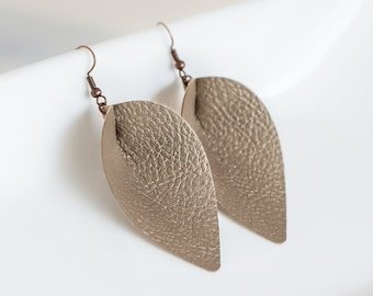 Bronze Pinched Leather Earrings